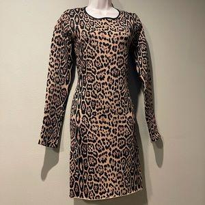 BCBGMAXAZRIA leopard print knit dress. Siz…
